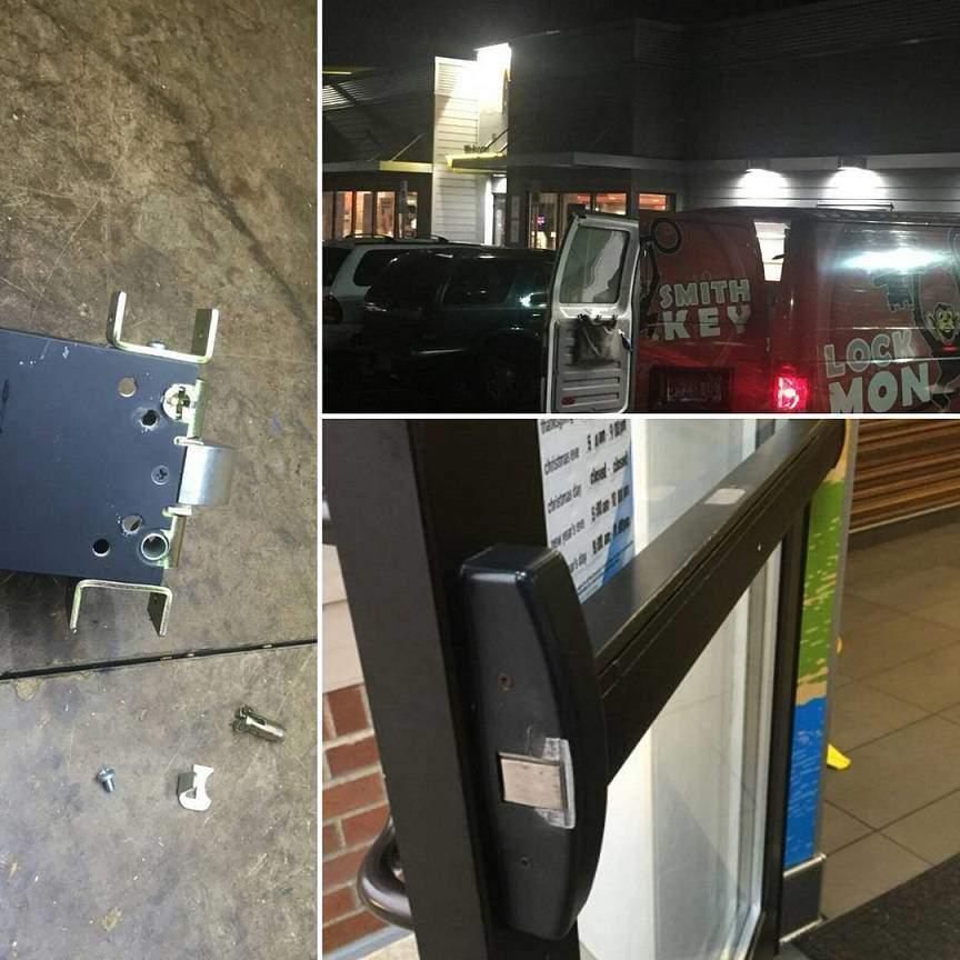Crash bar repair at McDonalds with high traffic door lock